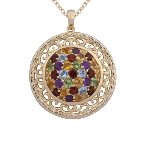 18k Yellow Gold Plated Sterling Silver Genuine Multi-Gemstone Filigree Cluster Pendant Necklace, 18""
