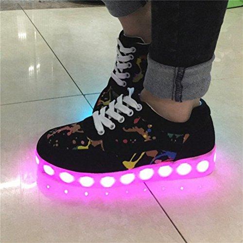 [Present:kleines Handtuch]JUNGLEST 8 Farben LED Leuchtend Aufladen USB Aufladen Sport Schuhe Paare Schuhe Herbst und Winter Sport Schuhe Freizeitschuhe Leucht Laufende Unise Schwarz