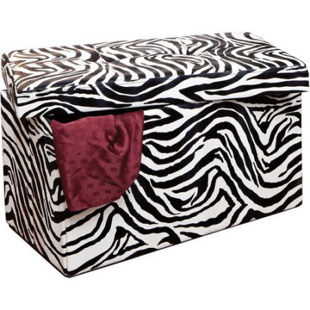Double Folding Ottoman Folds Flat when Not in Use for Easy Storage (Zebra)