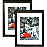 "11x14 Inch Picture Frame Black (2-pack) - HIGH DEFINITION GLASS FRONT COVER - Displays 11 by 14"" Picture w/o Mat or an 8x10 Photo w/ Mat - Vertical or Horizontal Mounts & Comes Ready To Hang"