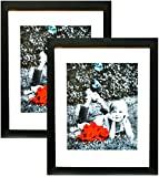 8x10 frame with mat - 11x14 Inch Picture Frame Black (2-pack) - GLASS FRONT COVER - Displays an 11 by 14