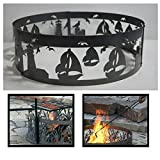 PD Metals Steel Campfire Fire Ring Sailboat Design - Unpainted - with Fire Poker and Cooking Grill - Medium 38 d x 12 h Plus Free eGuide