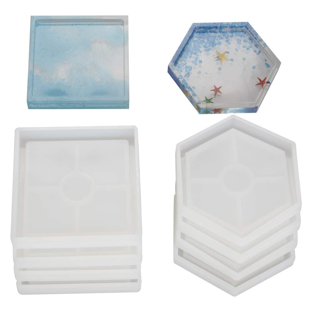 8 Pcs DIY Coaster Silicone Mold, Include 4 Pcs Square, 4 Pcs Hexagon, Molds for Casting with Resin, Concrete, Cement by VTurboWay