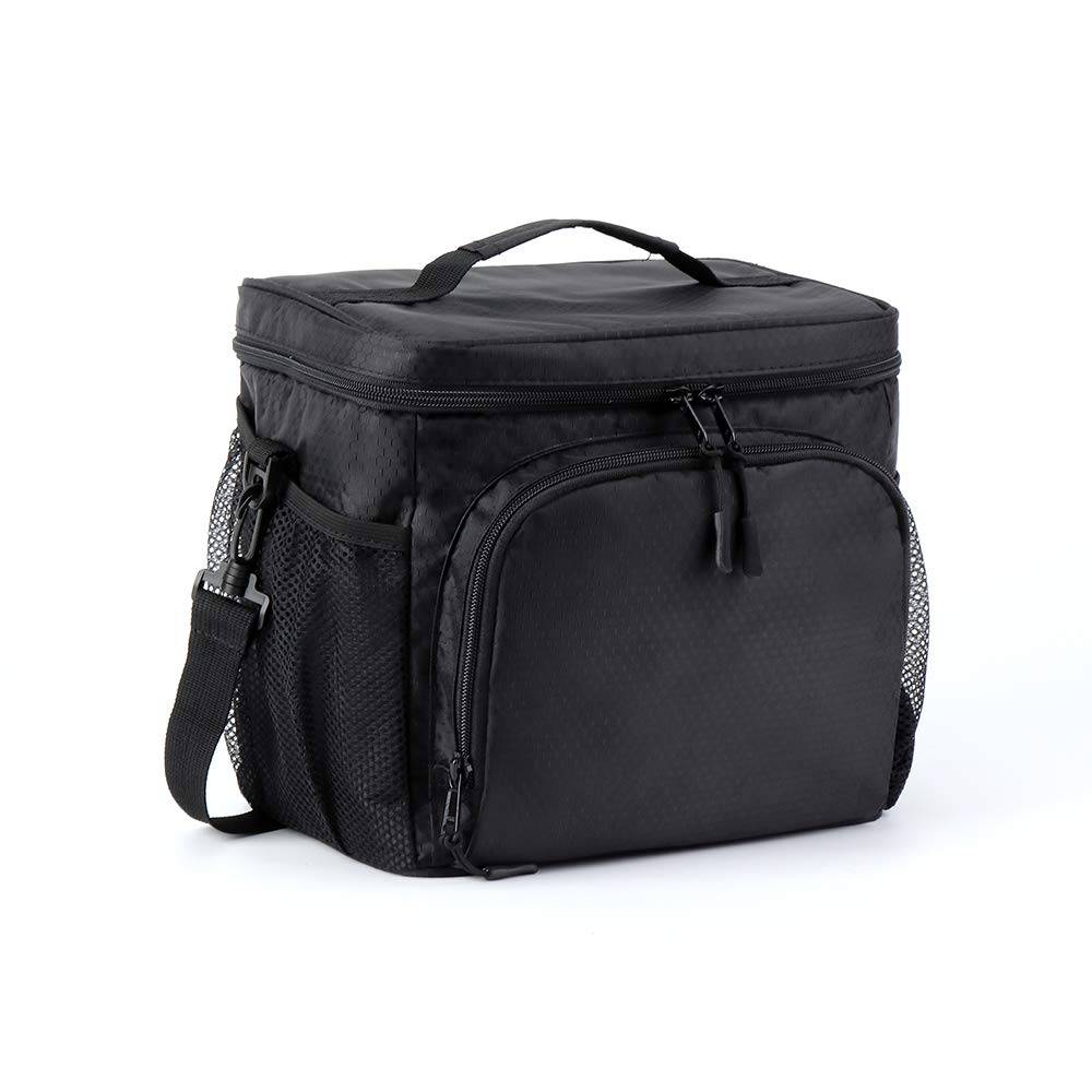 Lunch Bag Soft Lunch Cooler Lunch Tote with Shoulder Strap, 12 Cans Waterproof Leakproof Lunchbox Bag for Work Picnic Beach Hiking Fishing - Size 9H x 9.5L x 7.3W inch(Black N4) by F40C4TMP