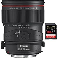 Canon TS-E 24mm f/3.5L II Ultra-Wide Tilt-Shift Manual Focus Lens (3552B002) with Sandisk Extreme PRO SDXC 128GB UHS-1 Memory Card, Up to 95/90MB/s Read/Write Speed