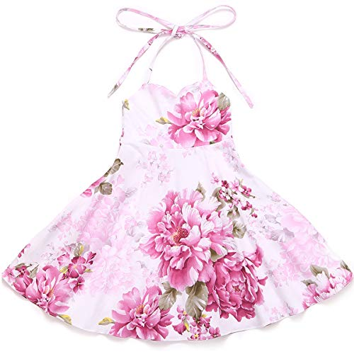 Flofallzique Floral Vintage Girls Dress Cotton Birthday Party Beach Toddler Sundress (6, Pink 2)