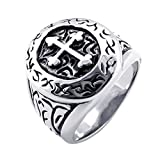 KONOV Classic Vintage Cross Mens Ring, Stainless Steel Band, Silver