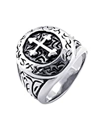 Konov Jewelry Mens Classic Stainless Steel Cross Ring, Silver Black, with Gift Bag, C19252