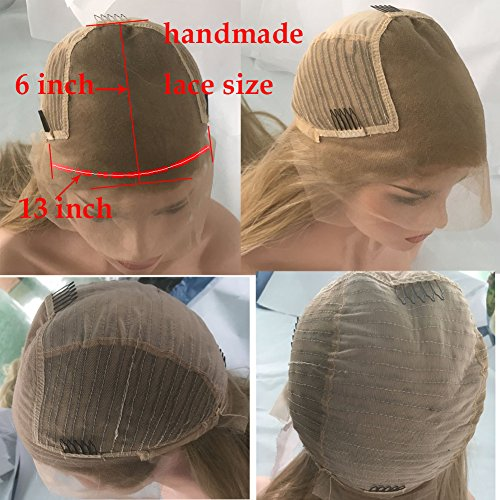 FUHSI Kanekalon Fiber 13×6 Inch Lace Real Natural For Women – Soft & Smooth, Straight Lace Front Wig, Elastic Straps, Comfortable & Adjustable –Color 103# Blonde 250D 22'' by FUHSI (Image #6)
