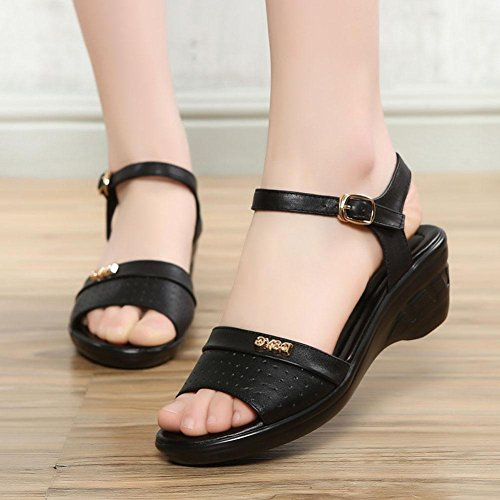 Shoes Women Large YC Yards Sandals With Soft Slope Summer High Dress Black Leather Comfortable L Bottom Women'S Non Slip wT8xd5A8q
