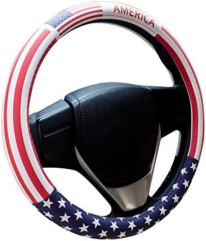 Charrost Steering Wheel CoverAmerican Flag Microfiber Leather Auto Car Steering Wheel Cover Universal 15 inch(American Flag)