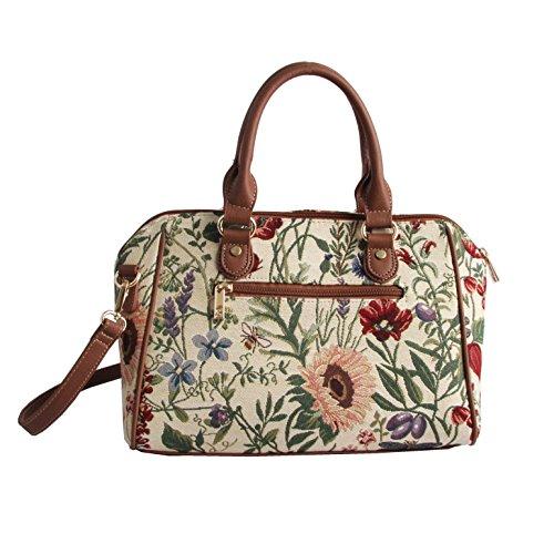 Bolso bowler de moda Signare para mujer en tela de tapiz bolso de hombro jardín por la mañana