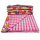 Decorative Pink Cotton Quilt Home Décorative Floral Pattern Queen Size Reversible Bedspread Throw India