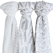 Muslin Swaddle Blanket 100% Soft Muslin Cotton 3 Pack 47 x 47  Classic Grey Combo Unisex for Baby Girl Or Baby Boy