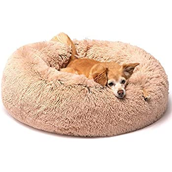 Friends Forever Luxury Marshmallow Cat Bed, Calming Dog Beds for Small Dogs, Fluffy Dog Bed for Pet Comfy - Tan 23 X 23 Inch