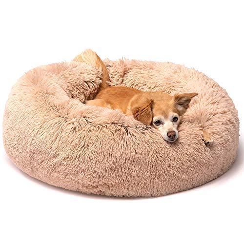 Friends Forever Donut Cat Bed, Faux Fur Dog Beds for Medium Small Dogs – Self Warming Indoor Round Pillow Cuddler Pink & Tan & Grey & Ivory