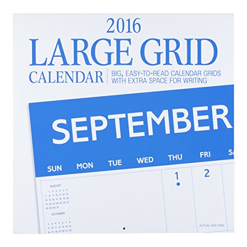 "DaySpring 12"" x 12"" 2016 12-Month Large Grid Wall Calendar, Blue (74397)"