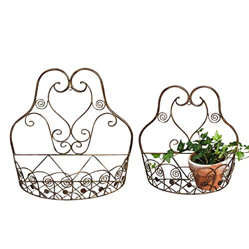 French Country Wall Basket for Plants, Set of 2, Crested Arabesque, Curled Iron, Bronze Tone, Garden Pot Holders, 1-15 1/2 x 5 1/2, and 2-12 1/2 x 5 1/2 Inches (Country Wall Baskets)