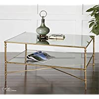 Ambient Gold Leaf Finish With Heavy Antiquing On Iron Frame With Iron Cross Stretchers Top Is Reinforced Mirror And Gallery Shelf Is Clear Tempered Glass Coffee Tables