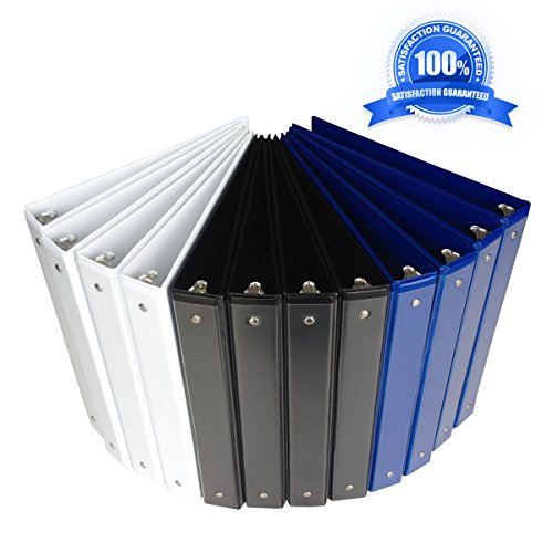 1 inch binder 3 ring,Durable View Binder,assorted color(white/black/blue),12 pack