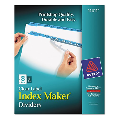 Avery Index Maker Dividers, 8-Tab, White, 5 Sets (11411) Avery Index Maker White Dividers