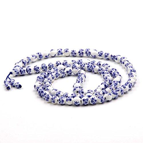 - 108 Vintage Style Porcelain Beads Tibetan Buddhist Prayer Japa Mala Necklace