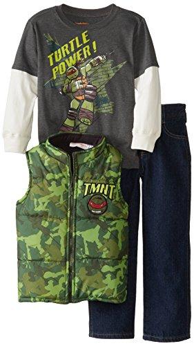Kids Pant Turtle - Nickelodeon Little Boys' 3 Piece Teenage Mutant Ninja Turtle Vest Set, Green, 6