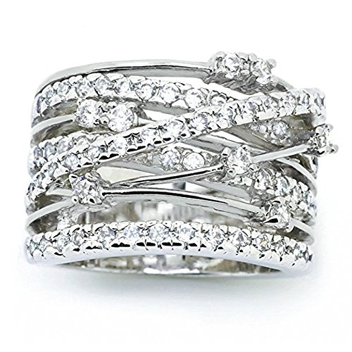 YJYdada Ring, Women Fashion Fashion Diamond Cylindrical Rings Fine Ring Size 6/7/8/9/10 (White, 6)