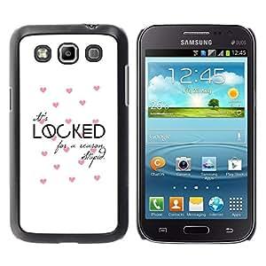FECELL CITY // Duro Aluminio Pegatina PC Caso decorativo Funda Carcasa de Protección para Samsung Galaxy Win I8550 I8552 Grand Quattro // Love Quote Valentines Pink White