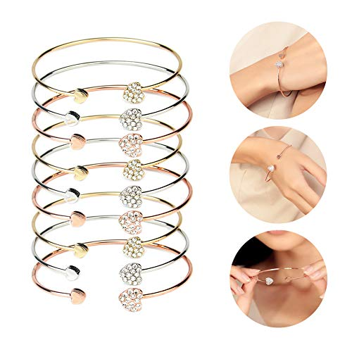 MyBuddy 9Pcs Bangle Bracelet,Adjustable Heart Cuff Open Bracelet for Girl Woman (Silver, Gold and Rose ()