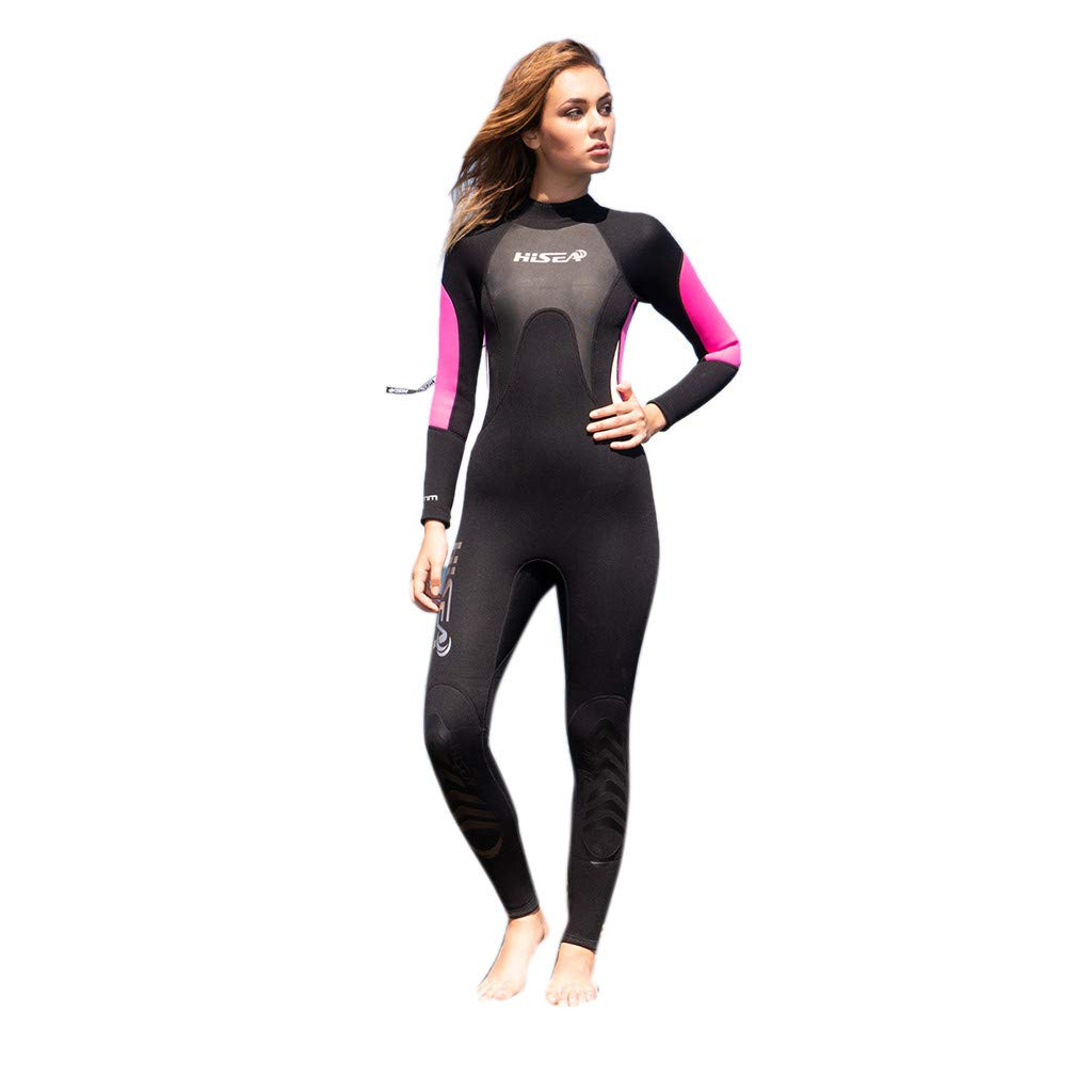 Women's 3MM Sunblock Neoprene Long Sleeve Wetsuit for Scuba Diving Full B One Piece (Black, L) by YUEZIHUAHUA Women Wetsuit