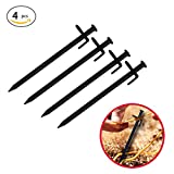 4PC 20CM Tent Stakes Heavy-duty Strength Steel Solid Camping Tent Pegs Stake for Outdoors Trip Survival Mountain-climbing Camping Hiking with Metal Stopper