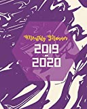 Monthly Planner 2019-2020: Purple Marble Cover for 24 Months and Weekly Calendar Schedule Organizer with Holidays