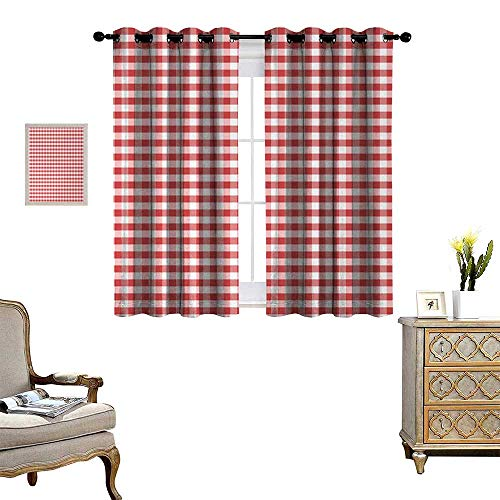 Anyangeight Checkered Thermal Insulating Blackout Curtain Horizontally Striped Design Gingham Inspired Old Fashioned Traditional Print Patterned Drape for Glass Door W55 x L72 Coral White