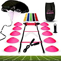 Big B Pro Sports Speed Agility Training Set – Includes Ladder, 10 Cones with Holder, Running Parachute, Jump Rope, Resistance Bands – for Training Football, Soccer, Hockey, and Basketball Athletes.