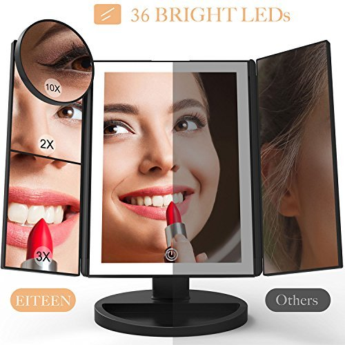 Makeup Mirror with Lights and Magnification,Upgraded 36 LEDs Vanity Mirror with 10X 3X 2X 1X Magnifying Mirrors , Touch Dimmer , 180° Rotatable, USB/AAA Batteries Dual Power Supply - Elegantly Black