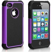 Pasonomi iPhone 4 Case-Premium Heavy Duty Hybrid Shockproof Durable Bumper Armor Cover for Apple iPhone 4S/4(Purple)