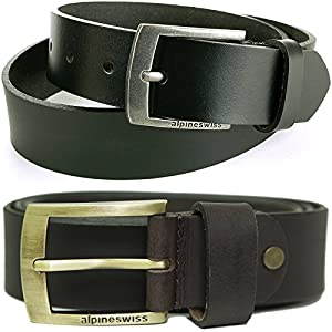 Alpine Swiss Mens Leather Belt Slim 1 1/4″ Casual Jean Dakota Signature Buckle