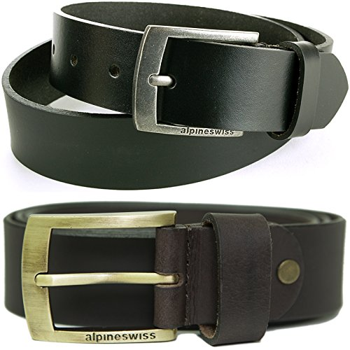 Alpine Swiss Men's Belt 35MM Casual Jean Genuine Leather Dakota Signature Buckle