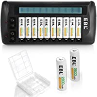 EBL 12 Slot AA AAA Cell Battery Charger with 12 Counts AA 2800mAh High Performance Ni-MH Rechargeable Batteries