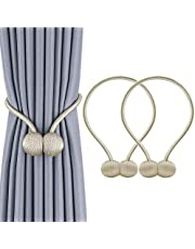 Magnetic Curtain Tiebacks, Decorative Curtain Clips Rope Holdbacks Tie Backs for Home Office Window Decoration, No Drilling and Holes Required
