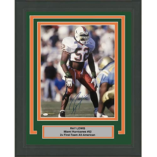 (Framed Autographed/Signed Ray Lewis Miami Hurricanes 16x20 College Football Photo JSA COA)