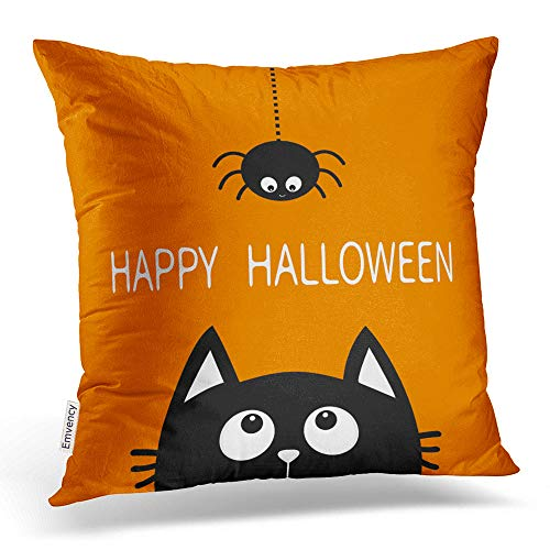 Emvency Throw Pillow Covers Happy Halloween Black Cat Face Head Silhouette Cute Cartoon Baby Pet Animal Decor Pillowcases Polyester 18 X 18 Inch Square Hidden Zipper Home Cushion Decorative -