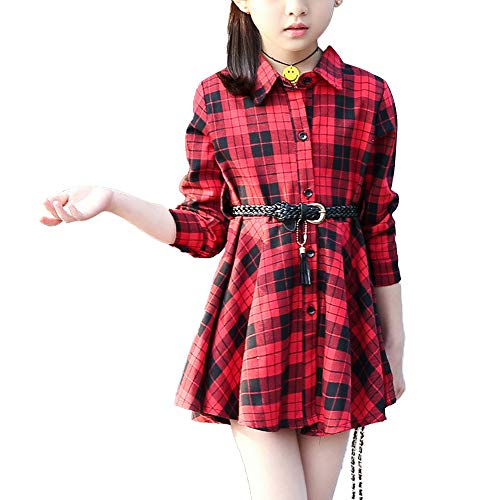 Kids Girls' Casual Check Plaid Dress A Line Collar Neck Button Down Shirt Dress Red Tag 150 (9-10 Years)