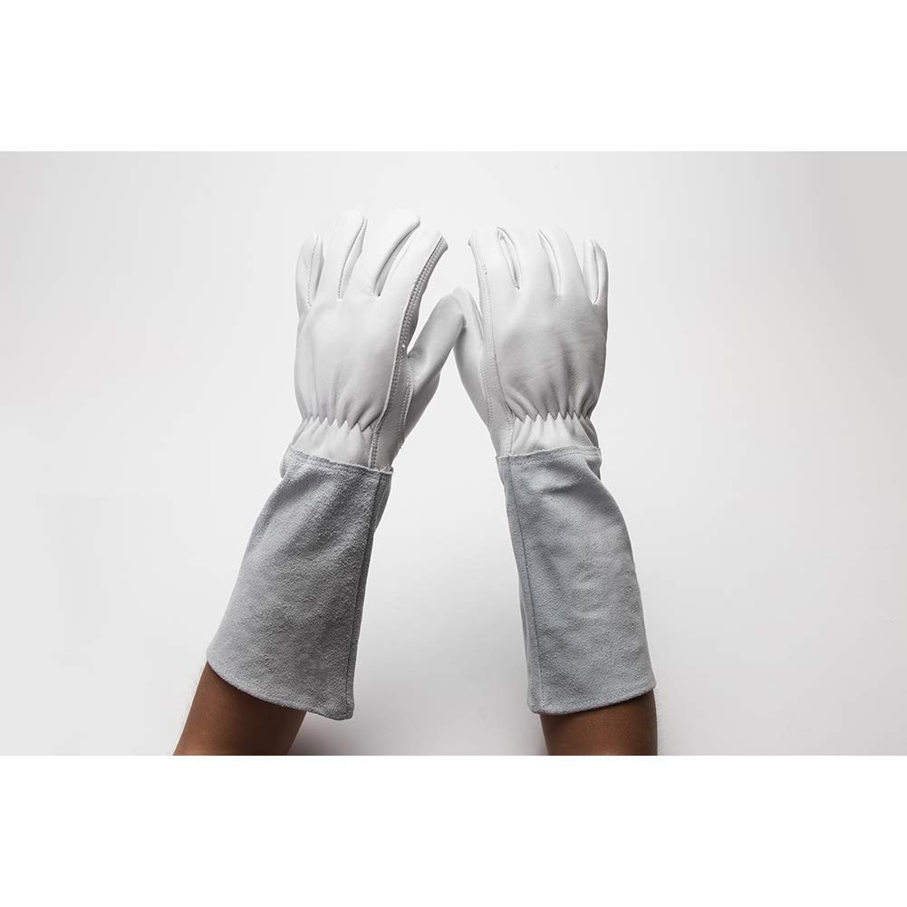 Rose Pruning Thorn Proof Gloves For Men Women, Goatskin Leather Gardening Gloves Gauntlet Gardening Rigger, Long Puncture Resistant Gauntlet To Protect Your Arms Until Elbow HCT08-C (Grey, L) HANSHI