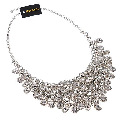 (Vintage Crystal Rhinestone Chain Choker Collar Bib Pendant Statement Necklace for Women)