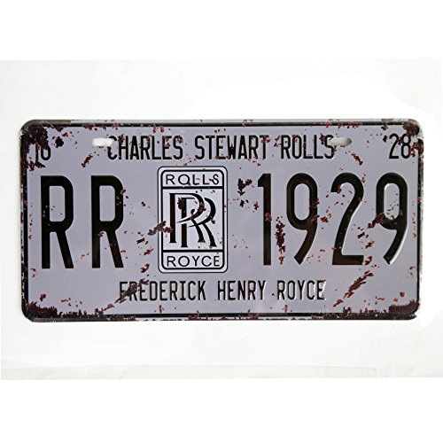 "Rolls Royce Vintage Auto License Plate Tin Sign Size 12"" X 6""inches"