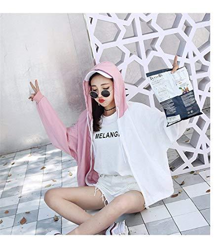 Cappuccio Relaxed Chic Moda Giubbino Incappucciato Manica Protezione Casual Donna Elegante Primaverile Facile Lunga Stampate Giacca Rosa Solare Giovane Colori Ragazze Con Misti Estivi Ragazza qO6zxZ