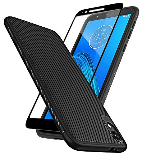 HuYin Moto E6 Case with Tempered Glass Screen Protector Scratch Resistant Anti Slip Grippy Soft TPU Case for Motorola Moto E6 Phone (Black)