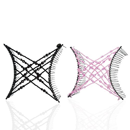 HairZing Criss-Cross Comb 2-Pack, Hair Accessory Perfect for UpDos and Twists, Black/Pink, Large